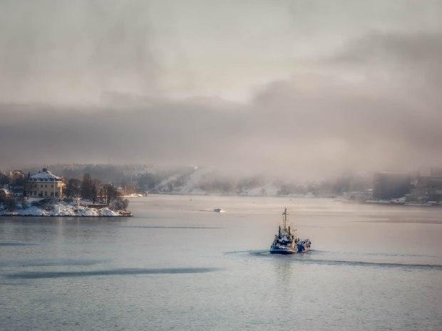 Ship leaving harbour